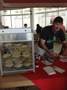 Co-owner Mike Noakes serves up Humble Pies at Dartmouth's Alderney Market
