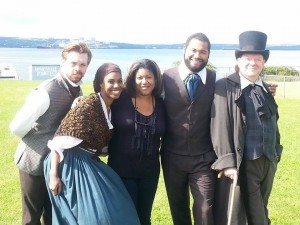 "Drew O'Hara, Naomi-Joy Blackhall, director Juanita Peters, Jacob Sampson and John O'Keefe of        ""Settling Africville"""