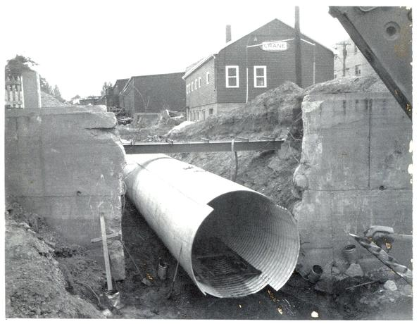 The storm sewer downstream from Sullivan's pond being laid in the early 70s.