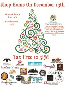 Experience the holidays in Downtown Dartmouth, save the Tax, visit with Santa, hear the carollers, and trade in your old light for new LED's on Saturday December 13. 2014