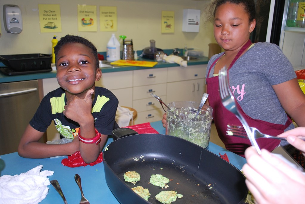 Happy young cooks in the Dartmouth North Community Food Centre kitchen